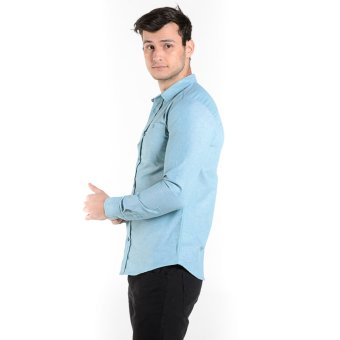 Penshoppe Long Sleeves Shirt With Buttoned Collar (Green) - 4