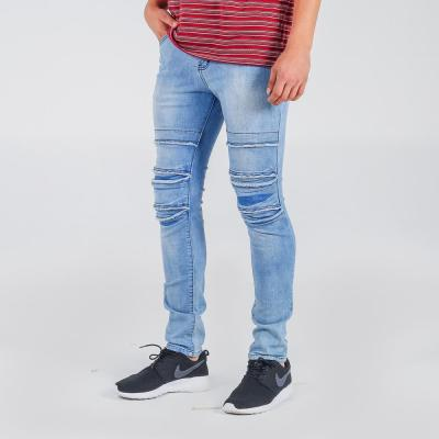 Penshoppe Skinny Fit 5-Pocket Jeans With Ripped And Repaired Detail(Powder Blue) - 2