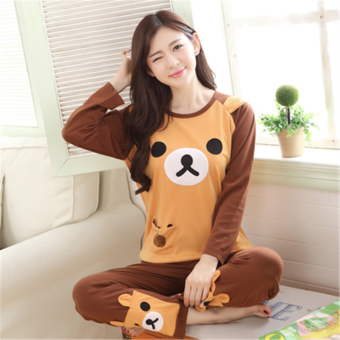 Pink Korean women's long-sleeved cotton tracksuit pajamas (Long-sleeved bear biscuits)