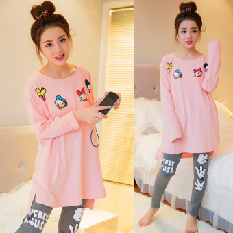 Pink Korean women's long-sleeved cotton tracksuit pajamas (Three only Donald Duck)