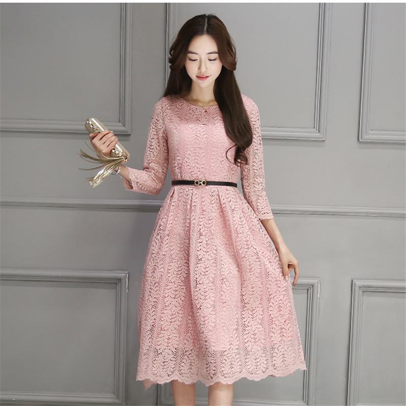 Philippines Pink Plus Size Lace Dress Women Sexy O Neck New Ninth