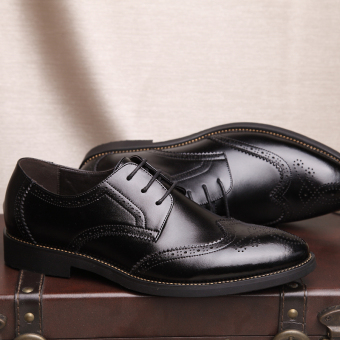 PINSV Genuine Leather Men's Breathable Casual Business Shoes (Black) - Intl - 5