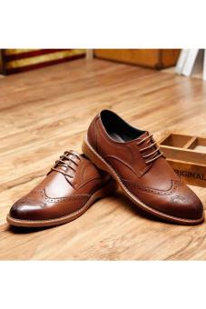 PINSV Men Dress Shoes Genuine Leather Black Italian Fashion Business Oxford Shoes(Brown) - 3
