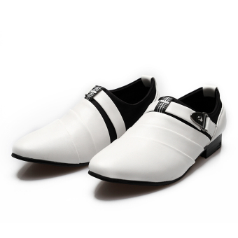 PINSV Men Formal Shoes Casual Loafers(White) - 5
