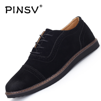 PINSV Men's Formal Shoes Casual Business Leather Shoes (Black)
