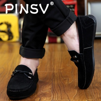 PINSV Men's Slip-Ons Loafers Fashion Cow Suede Leather Shoes Black - intl - 5
