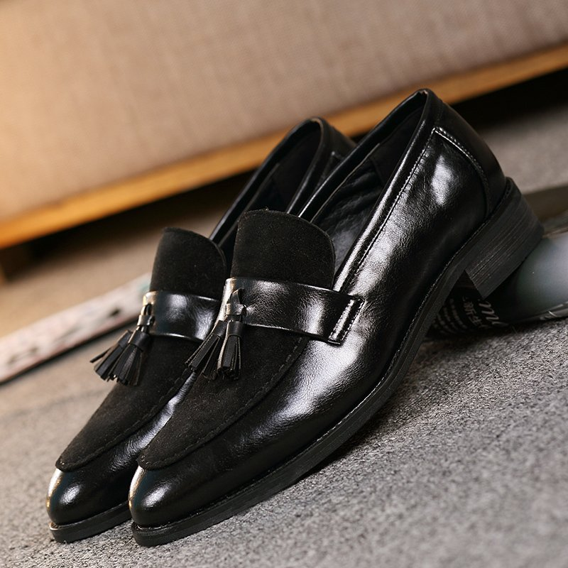 PINSV Mens Classic Formal Shoes Tassel Loafers Business Shoes (Black ) -