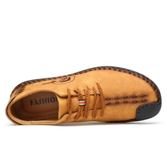 PINSV Nubuck Leather Shoes Men round toe leather lace fashion shoes Low Cut Shoes - Yellow - intl - 3