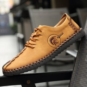 PINSV Nubuck Leather Shoes Men round toe leather lace fashion shoes Low Cut Shoes - Yellow - intl - 5