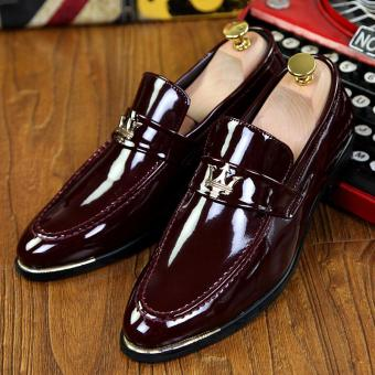 PINSV Patent Leather Men Formal shoes Loafers (Red)