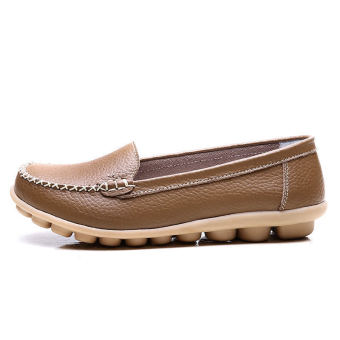 PINSV Women Fashion Flats Shoes Casual Loafers(Brown) - 4