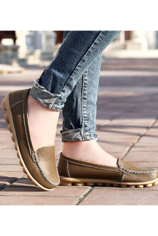 PINSV Women Fashion Flats Shoes Casual Loafers(Brown) - 3