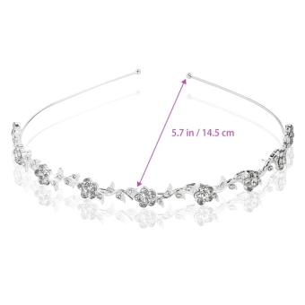 PIXNOR Wedding Women's Crystal Bridal Flower & Leaves CrownHeadband Tiara Headdress - 3