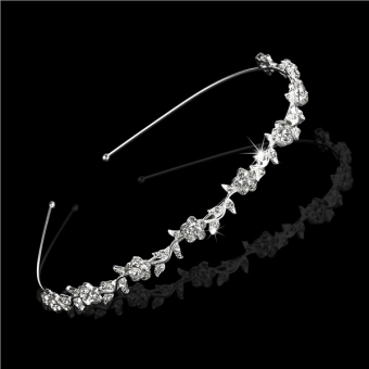 PIXNOR Wedding Women's Crystal Bridal Flower & Leaves CrownHeadband Tiara Headdress - 5