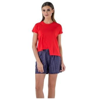 Plains & Prints Ishan Short Sleeve Top (Red)