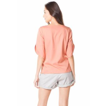 Plains and Prints Shaquille Quarter Sleeves Top - Peach - 3
