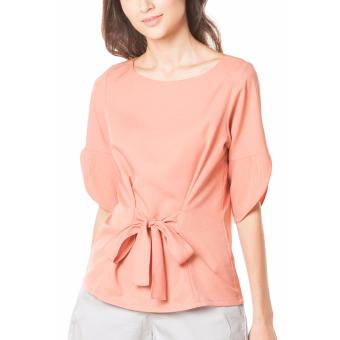 Plains and Prints Shaquille Quarter Sleeves Top - Peach - 4