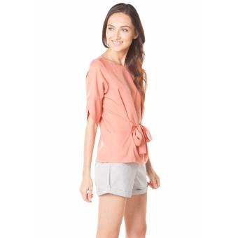Plains and Prints Shaquille Quarter Sleeves Top - Peach - 2