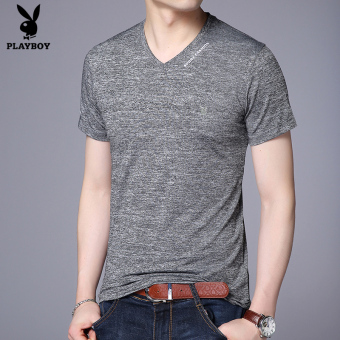 PLAYBOY Korean-style men summer Slim fit casual Top New style short sleeved t-shirt (Gray A5802)