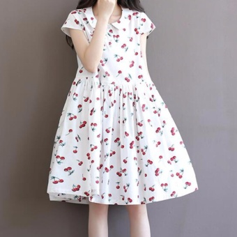 Plus Size Cotton Knee Dress Vintage Cherry Printing Cotton SkirtsFor Lady Women Maternity Pregnant - intl - 3