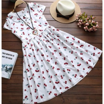Plus Size Cotton Knee Dress Vintage Cherry Printing Cotton SkirtsFor Lady Women Maternity Pregnant - intl