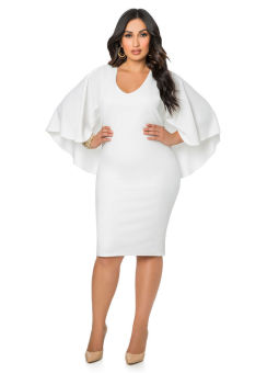 plus size women batwing sleeve party cocktail midi dress - intl