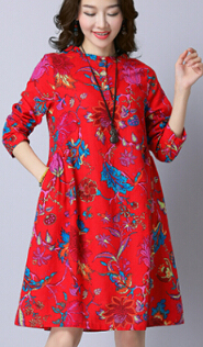Plus-sized loose a word dress Print dress (Red)
