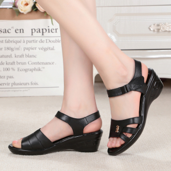 Plus-sized semi-high heeled women's shoes summer women's sandals (Black-Leather)