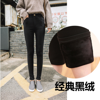 Plus velvet female outerwear New style pants fall and winter leggings (Black thick black velvet)