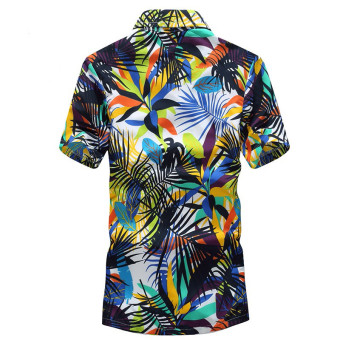 Podom Men Summer Casual Hawaiian Beach Button Floral Print Short Sleeve Holiday Party Shirt Tee Top T-shirt Leaves Printed Green - Intl - 3