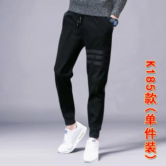 Popular brand Korean-style men sweatpants autumn sports pants (K185 black (one-piece dress))