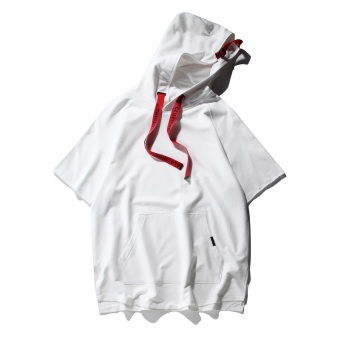 Popular brand summer thin hooded pullover solid color short sleeved t-shirt (White) (White)