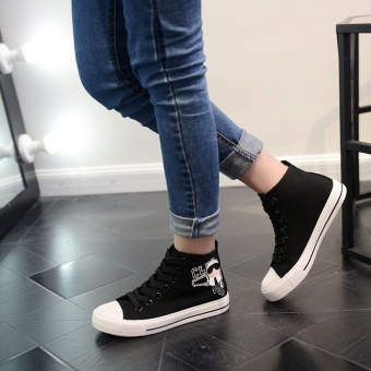 Popular High Sneakers Women Skateboarding Shoes Canvas Sneakers forWomen Fashion Sports Shoes Walking Outdoor Shoes Ready Stock (Black ) - intl - 2