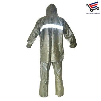 Popular Man Woman Water Proof Rain Coat in Army Green - 3