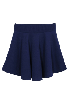 Popular Style Single Color Skater Skirt Dark Blue - picture 2