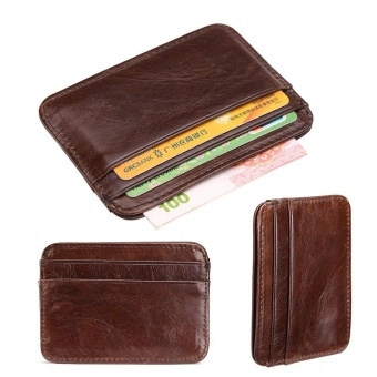 Portable Coin Holders Card Holders Convenient Cowhide Wallet SmallPurse Card Package Men Wallet Business Purse Coin Bags PursesDecent Strap Wallet - intl