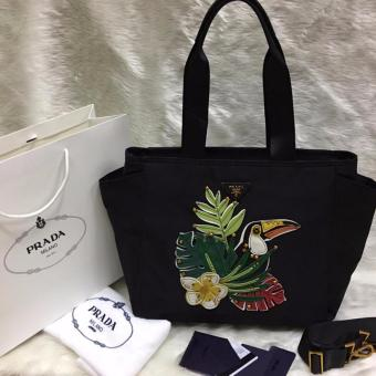 Prada Leaves and Bird Fabric Tote Bag in Black Price Philippines