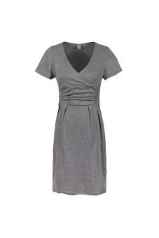 Pregnant Maternity Short Sleeve Casual Elasticity Dress (Gray)
