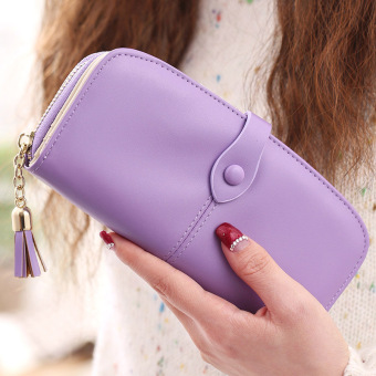 Prettyzys Korean-style tassled New Style Large Capacity wallet (Purple)