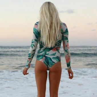 Print Floral One Piece Swimsuit Long Sleeve Swimwear Women Bathing Suit Retro Swimsuit Vintage One-piece Surfing Swim Suits - intl - 4