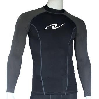 PROCARE MARINE #8362-BG Dri-Quik Men Rash Guard High Neck UPF30+Ultra Violet Skin Protection for Swimming Diving Snorkeling(Black/Gray)