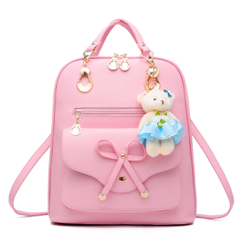 PU Leather High Junior High School student's bag (Cooljie pink)