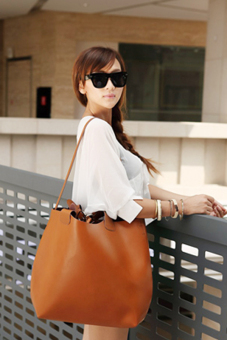 PU Leather Shoulder Tote Bags (Brown) - picture 2