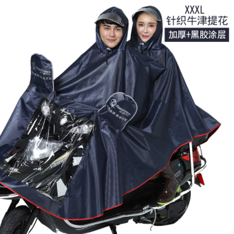 Qinfeiman extra-large thick electric car single double raincoat (Dark blue-knit 3XL)