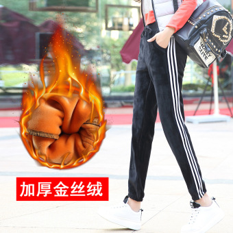 Qiudong gold velvet slimming skinny sweatpants athletic pants (Black-White terms)