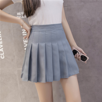 Qiudong Korean-style female New style plaid a word skirt pleated skirt (Zip gray)