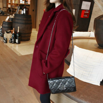 Qiudong Korean-style female Slim fit Plus-sized woolen coat (Wine red color)