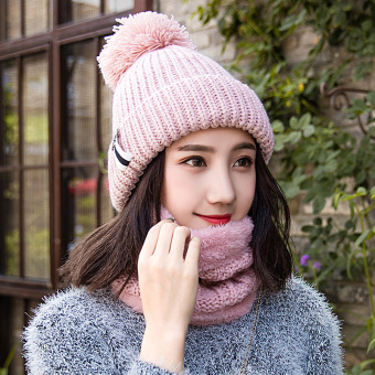 Qiudong Korean-style knitted warm ear cap yarn hat (Pink-suit cap)