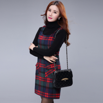 Qiudong Korean-style Slim fit professional base suit skirt woolen dress (Red and green plaid)