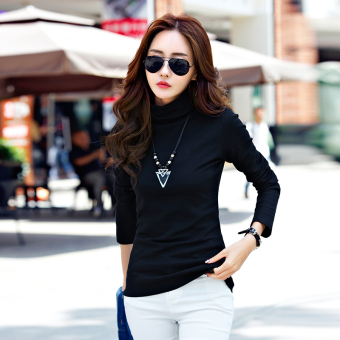 Qiudong versatile Plus velvet female long-sleeved t-shirt with high collar bottoming shirt (Black)